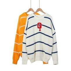 Momewear - Lettering Striped Sweater