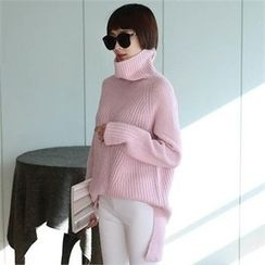 CHICFOX - Turtle-Neck Loose-Fit Long Sweater