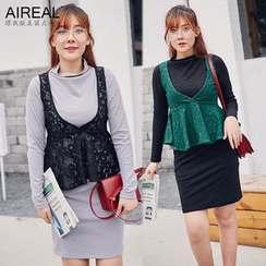 AIREAL - Set: Long-Sleeve Knit Dress + Lace Tank Top