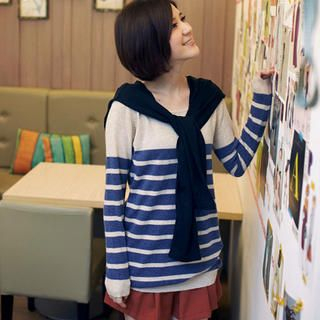 OrangeBear - Tab-Shoulder Striped Knit Top
