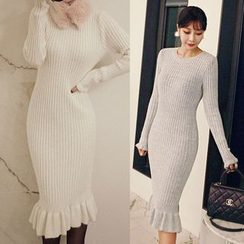 Seoul Fashion - Long-Sleeved Sweater Dress