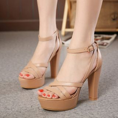 Monde - Ankle Strap High Heel Platform Sandals