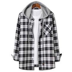 Seoul Homme - Hooded Plaid Shirt