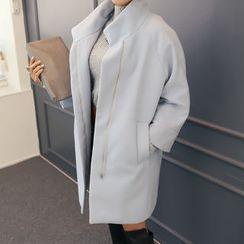 DANI LOVE - Detachable Faux-Fur Trim Zip-Up Coat