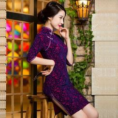 Miss Four Qipao - Elbow-Sleeve Pattern Cheongsam