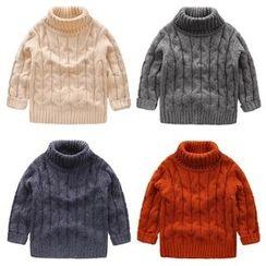 lalalove - 童裝羅紋樽領針織上衣