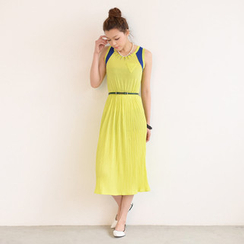 59 Seconds - Contrast Trim Sleeveless Midi Dress (Belt not Included)