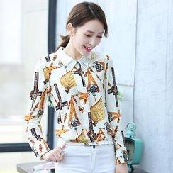 Romantica - Rhinestone Patterned Chiffon Shirt