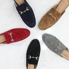 STYLEBYYAM - Faux-Suede Buckled Mules