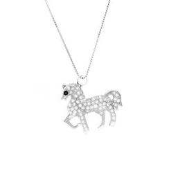 Glamagem - 12 Zodiac Collection - White Horse With Necklace