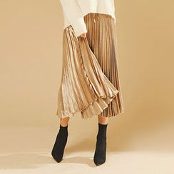 chuu - Metallic Accordion-Pleat Midi Skirt