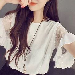 QZ Lady - Mesh Short-Sleeve Ruffled Top