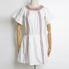 AIGIL - Embroidered Short-Sleeve Dress