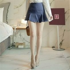 CHICLINE - Ruffle-Hem Miniskirt