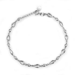 MaBelle - 14K/585 White Gold Open Teardrop and Ball with Diamond Cut Chain Bracelet (6.5')