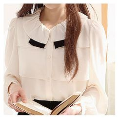 Sechuna - Frill-Collared Shirred-Shoulder Blouse