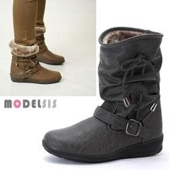 MODELSIS - Buckled Ribbon-Accent Boots