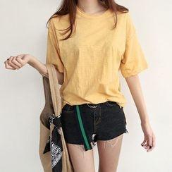 NIPONJJUYA - Elbow-Sleeve Round-Neck Mélange T-Shirt