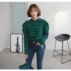 Miamasvin - Puff-Sleeve Striped T-Shirt