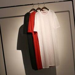 somniaa - Plain Elbow Sleeve T-Shirt Dress