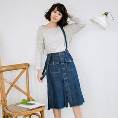 11.STREET - Buttoned Denim Jumper Skirt