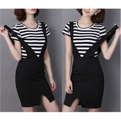 Fumoya - Set: Stripe Short-Sleeve T-Shirt + Slit Suspender Skirt
