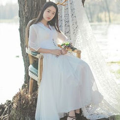 Sens Collection - Plain 3/4 Sleeve Maxi Dress