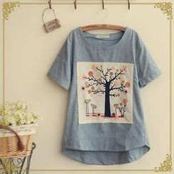 Fairyland - Short-Sleeve Tree Print Appliqué T-Shirt