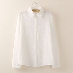 Tangi - Jacquard Long-Sleeve Blouse