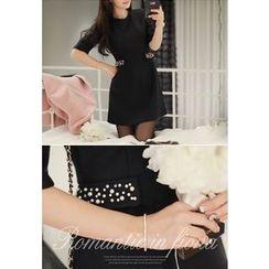 MyFiona - Beaded Elbow-Sleeve A-Line Dress