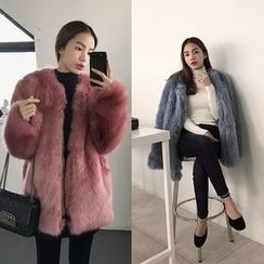 Seoul Fashion - Hook-and-Eye Faux-Fur Jacket