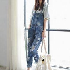 彩君 - 水洗做旧修身背带牛仔裤