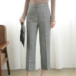 ELLY - Plaid Straight-Leg Cropped Pants