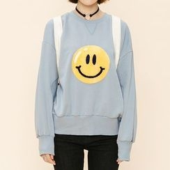 Heynew - Smiley Face Applique Pullover