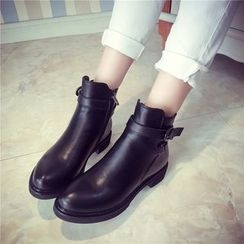 QQ Trend - Chunky Heel Buckled Ankle Boots
