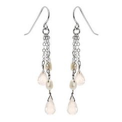 Keleo - Silver fresh water pearls, rose quartz earrings