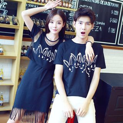 Evolu Fashion - Couple Matching Short-Sleeve Print T-Shirt