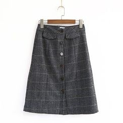 Ranche - Buttoned Check A-Line Skirt