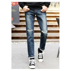HOTBOOM - Slit-Knee Washed Slim-Fit Jeans
