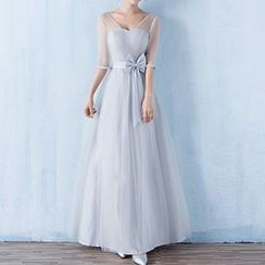 Luxury Style - Elbow Sleeve A-Line Evening Gown