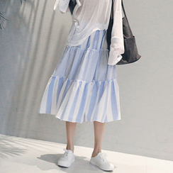 NANING9 - Cotton Tiered Stripe Skirt