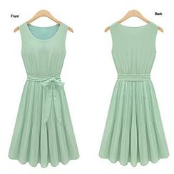 Eloqueen - Sleeveless Tie-Waist Pleated Dress