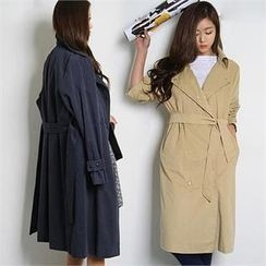 FASHION DIVA - Snap-Button Trench Coat with Sash