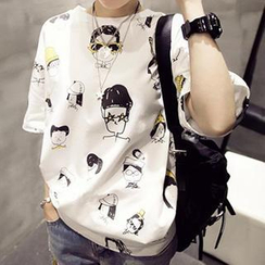 Eva Fashion - Short-Sleeved Cartoon Print T-Shirt