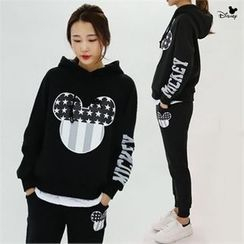 PINKSISLY - Set: Hooded Mickey Mouse Print Top + Sweatpants