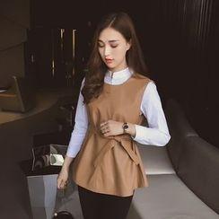Cocofield - Set: Plain Blouse + Vest