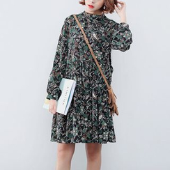 Sens Collection - Floral Print Long-Sleeve Mock Neck Dress