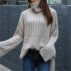 CHICFOX - Cowl-Neck Wide-Sleeve Sweater