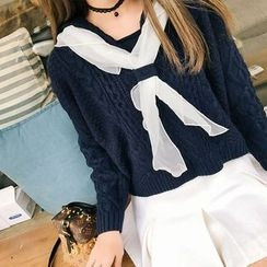 Deerie - Sailor Collar Cable-Knit Sweater