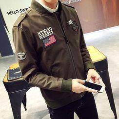 LIBIN - 補丁刺繡拉鍊夾克